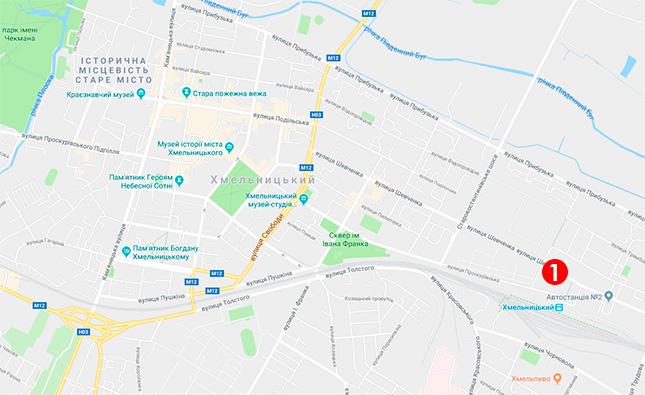 Схема магазинів фабрики Москітос у Хмельницькому