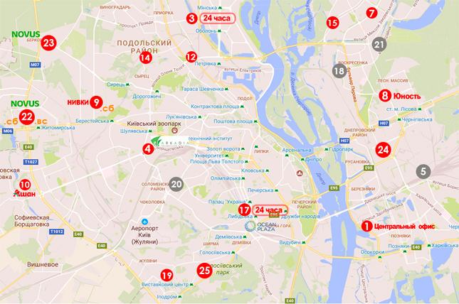 Мапа видачі протимоскітних сіток у Києві