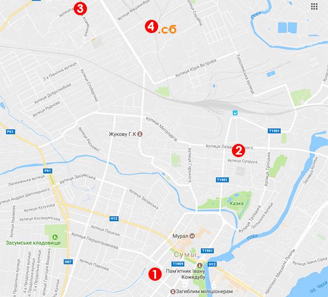 Карта выдачи моситных сеток в Сумах